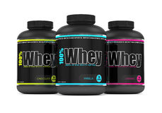 3d render of whey proteins in containers over white Royalty Free Stock Images