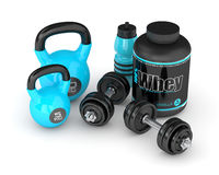 3d render of whey proteins with dumbbells, kettlebells  Royalty Free Stock Image