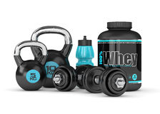 3d render of whey proteins with dumbbells, kettlebells  Royalty Free Stock Photo
