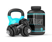 3d render of whey proteins with dumbbells and kettlebells Royalty Free Stock Images