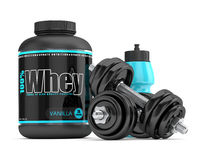 3d render of whey proteins with dumbbells and water bottle Royalty Free Stock Photography