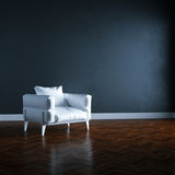3d render white armchair in black interior mock up perspective. View Royalty Free Stock Photos