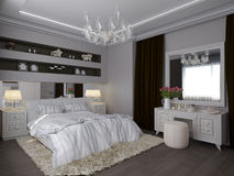 3D render of a white bedroom in classical style royalty free illustration