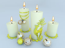 3D render of white candles with Christmas decorations. 3D render of white candles with gold and silver Christmas decorations vector illustration