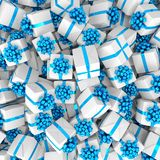 3d render - White christmas gift boxes with blue ribbons. Happy holidays royalty free illustration