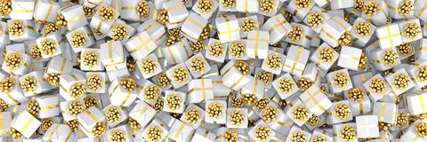 3d render - white christmas gift boxes with golden ribbons. Panorama vector illustration