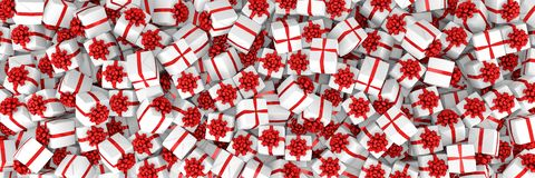 3d render - White christmas gift boxes with red ribbons. Panorama royalty free illustration