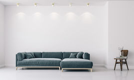 3d render of white interior with green sofa and chair. 3d render of white clean interior with green sofa and chair royalty free illustration