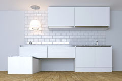 3D Render  White Contemporary Kitchen in White Interior.  Stock Photos