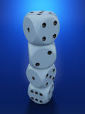 Dices on blue background Stock Image