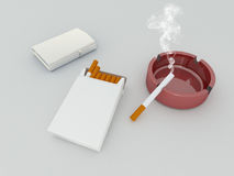 3D render of a white pack of cigarettes, silver lighter and red ashtray. 3D render of a white pack of cigarettes, silver lighter and red glass ashtray Stock Photo