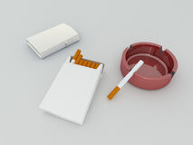 3D render of a white pack of cigarettes, silver lighter and red. Glass ashtray Royalty Free Stock Photos