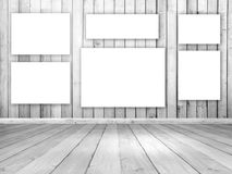 3D wooden room interior with blank hanging canvases. 3D render of a white wooden room interior with blank hanging canvases Stock Photography