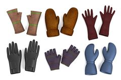 3d render of winter gloves Royalty Free Stock Photo