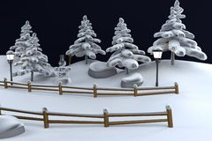 3d render of winter scene Stock Photography
