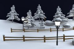 3d render of winter scene Royalty Free Stock Images