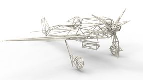 3d render  - wire frame model of airplane with lattice effect. On white background Royalty Free Stock Photo