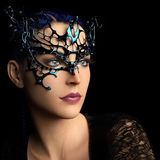 Woman with fantasy mask. 3D render of a woman with blue hair and fantasy mask royalty free illustration