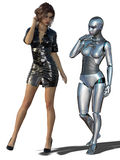 3D render of woman and robot. Royalty Free Stock Photography