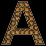3D render of wood and metal alphabet letter Royalty Free Stock Images