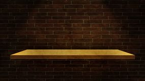 3D wood shelf on a grunge brick wall. 3D render of a wood shelf on a grunge brick wall Stock Photos