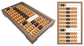 Wooden abacus. 3d render of wooden abacus on a white background stock illustration