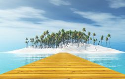 3D wooden jetty leading to a tropical island with palm trees. 3D render of a wooden jetty leading to a tropical island with palm trees Stock Photo