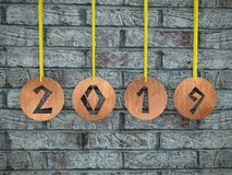 Wooden ringlets with cut out 2019 date royalty free illustration