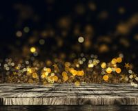 3D wooden table on bokeh lights and stars background. 3D render of a wooden table on bokeh lights and stars background royalty free illustration