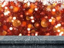 3D wooden table looking out to a Christmas snowflake background. 3D render of a wooden table looking out to a Christmas snowflake background stock illustration