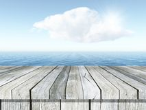 3D wooden table looking out to an ocean landscape. 3D render of a wooden table looking out to an ocean landscape Royalty Free Stock Photo