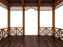 3d render of a wooden terrace on a white background Stock Images