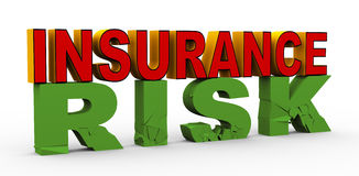 3d insurance over risk. 3d render of word insurance over cracked risk. Concept of insurance Royalty Free Stock Photography