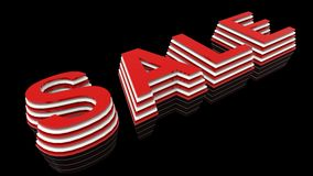 3d render of the word sale. Red and white lettering on a black background. 3d render of the word sale. Red and white lettering on a black background Royalty Free Stock Photography