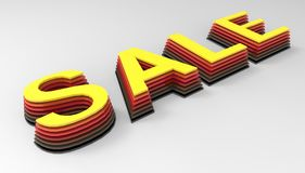 3d render of the word sale. Yellow and red lettering on a white background. 3d render of the word sale. Yellow and red lettering on a white background Royalty Free Stock Photography
