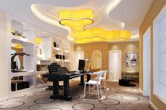 3d render of working space. 3d render of modern working space, interior view royalty free illustration