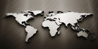 3d render world map. On gray background Royalty Free Stock Photography