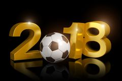 3d render - russia 2018 - soccer - football - ball. 3d render - The year 2018 in gold on a black background. The zero is represented by a football Royalty Free Stock Photo