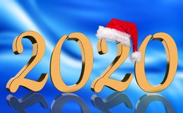 3D Render - The year 2020 in golden numbers with a red Santa Claus cap royalty free stock photos