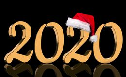 3D Render - The year 2020 in golden numbers with a red Santa Claus cap mirrored royalty free stock images