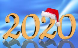 3D Render - The year 2020 in golden numbers with a red Santa Claus cap mirrored royalty free stock photos