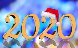 3D Render - The year 2020 in golden numbers with a red Santa Claus cap mirrored stock photography