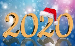 3D Render - The year 2020 in golden numbers with a red Santa Claus cap stock image
