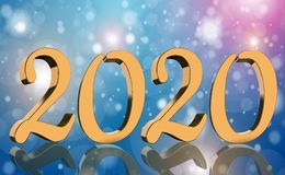 3D Render - The year 2020 mirrored in golden numbers stock images