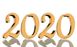 3D Render - The year 2020 mirrored in golden numbers royalty free stock photography
