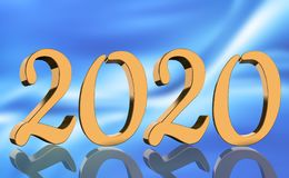 3D Render - The year 2020 mirrored in golden numbers stock photography