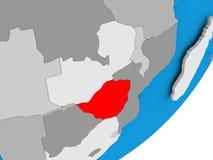 Map of Zimbabwe. 3D render of Zimbabwe on political globe. 3D illustration Stock Image