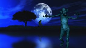 3D zombie with tree silhouetted against a moonlit sky. 3D render of a zombie with tree silhouetted against a moonlit sky Stock Illustration