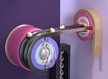An abstract mechanism with rolling spheres royalty free illustration