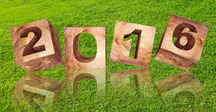 3d rendered, abstract year 2016 on green grass background Royalty Free Stock Photography